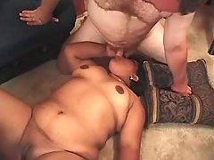 Megafat mature woman eats fresh cum