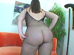 Horny BBW in fishnet wear shows off