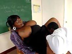 Fat ebony teacher spoils nice stud