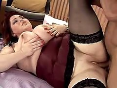 Chubby lady with big boobs titfucks
