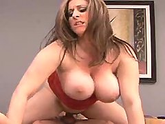 Lustful busty mature dances on cock