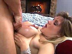 Teen babe with huge boobs titsfucks