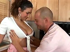Busty latin woman seduces young guy