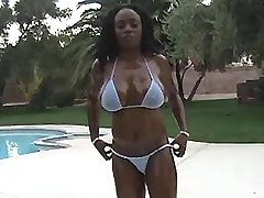 Hot ebony girl presents huge boobs