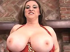 Sexy busty plumper shows huge boobs