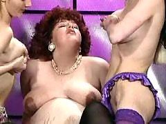 Chubby preggo caressed by lesbians