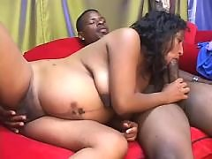 Latin pregnant girl sucks hard cock