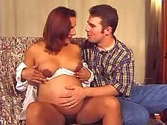 Hot pregnant doll seduces young guy
